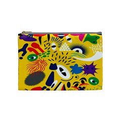 Yellow Eye Animals Cat Cosmetic Bag (Medium)