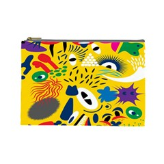 Yellow Eye Animals Cat Cosmetic Bag (Large)