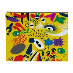 Yellow Eye Animals Cat Cosmetic Bag (XL)