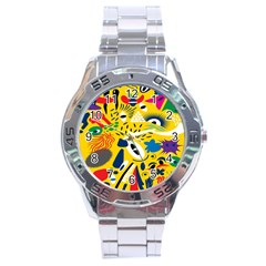 Yellow Eye Animals Cat Stainless Steel Analogue Watch