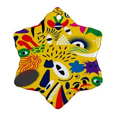 Yellow Eye Animals Cat Snowflake Ornament (Two Sides)