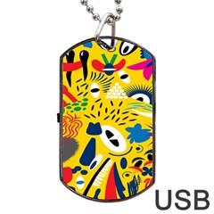 Yellow Eye Animals Cat Dog Tag USB Flash (One Side)