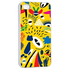 Yellow Eye Animals Cat Apple iPhone 4/4s Seamless Case (White)
