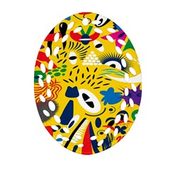Yellow Eye Animals Cat Oval Filigree Ornament (Two Sides)