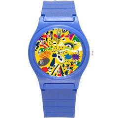 Yellow Eye Animals Cat Round Plastic Sport Watch (S)