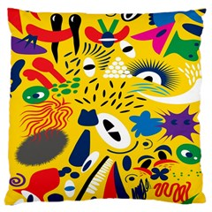 Yellow Eye Animals Cat Large Cushion Case (Two Sides)