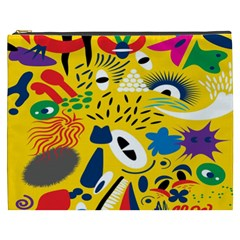 Yellow Eye Animals Cat Cosmetic Bag (XXXL)