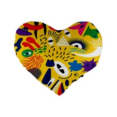 Yellow Eye Animals Cat Standard 16  Premium Heart Shape Cushions