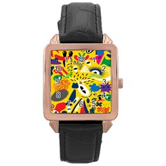 Yellow Eye Animals Cat Rose Gold Leather Watch