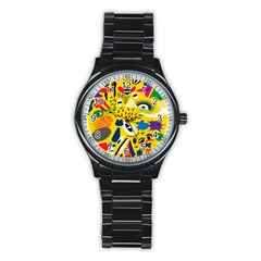 Yellow Eye Animals Cat Stainless Steel Round Watch