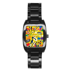 Yellow Eye Animals Cat Stainless Steel Barrel Watch