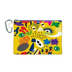 Yellow Eye Animals Cat Canvas Cosmetic Bag (M)