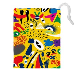 Yellow Eye Animals Cat Drawstring Pouches (XXL)