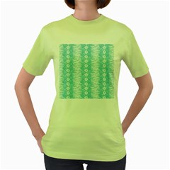 Snake Skin Blue Chevron Wave Women s Green T-Shirt