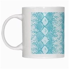 Snake Skin Blue Chevron Wave White Mugs