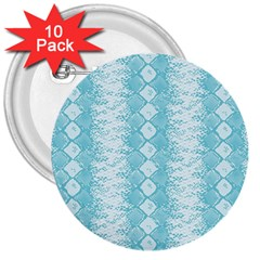 Snake Skin Blue Chevron Wave 3  Buttons (10 pack)