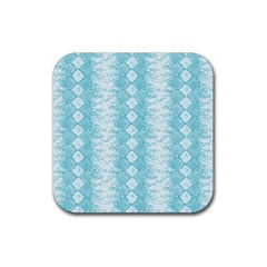 Snake Skin Blue Chevron Wave Rubber Coaster (Square)