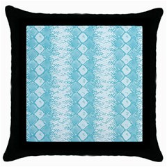 Snake Skin Blue Chevron Wave Throw Pillow Case (Black)