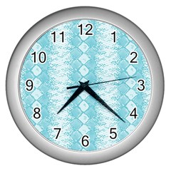 Snake Skin Blue Chevron Wave Wall Clocks (Silver)