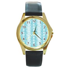 Snake Skin Blue Chevron Wave Round Gold Metal Watch