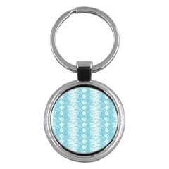 Snake Skin Blue Chevron Wave Key Chains (Round)