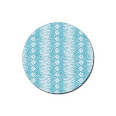 Snake Skin Blue Chevron Wave Rubber Coaster (Round)