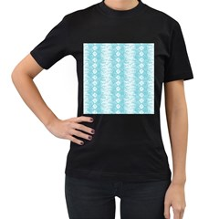 Snake Skin Blue Chevron Wave Women s T-Shirt (Black) (Two Sided)