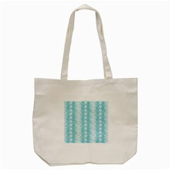 Snake Skin Blue Chevron Wave Tote Bag (Cream)