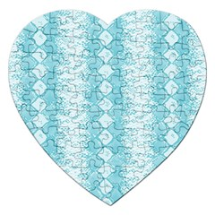 Snake Skin Blue Chevron Wave Jigsaw Puzzle (Heart)