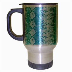Snake Skin Blue Chevron Wave Travel Mug (Silver Gray)