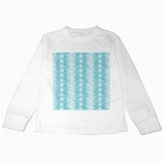 Snake Skin Blue Chevron Wave Kids Long Sleeve T-Shirts