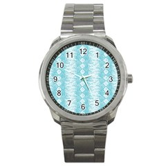 Snake Skin Blue Chevron Wave Sport Metal Watch