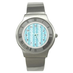 Snake Skin Blue Chevron Wave Stainless Steel Watch