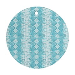 Snake Skin Blue Chevron Wave Round Ornament (Two Sides)