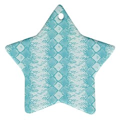 Snake Skin Blue Chevron Wave Star Ornament (Two Sides)