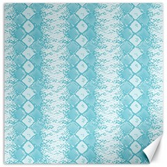 Snake Skin Blue Chevron Wave Canvas 16  x 16