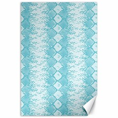 Snake Skin Blue Chevron Wave Canvas 24  x 36