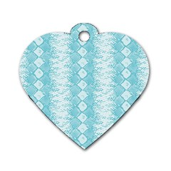 Snake Skin Blue Chevron Wave Dog Tag Heart (Two Sides)