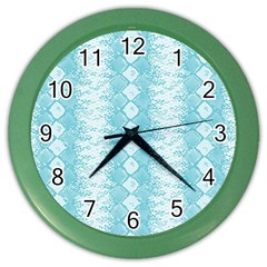 Snake Skin Blue Chevron Wave Color Wall Clocks