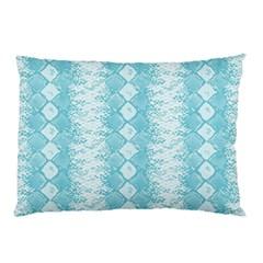 Snake Skin Blue Chevron Wave Pillow Case