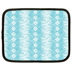 Snake Skin Blue Chevron Wave Netbook Case (XL)