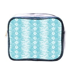 Snake Skin Blue Chevron Wave Mini Toiletries Bags