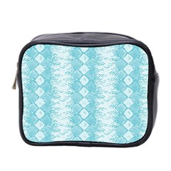 Snake Skin Blue Chevron Wave Mini Toiletries Bag 2-Side