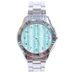 Snake Skin Blue Chevron Wave Stainless Steel Analogue Watch