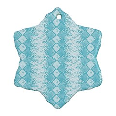Snake Skin Blue Chevron Wave Ornament (Snowflake)