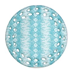 Snake Skin Blue Chevron Wave Round Filigree Ornament (Two Sides)