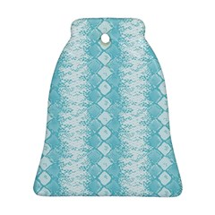 Snake Skin Blue Chevron Wave Bell Ornament (Two Sides)