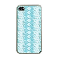 Snake Skin Blue Chevron Wave Apple iPhone 4 Case (Clear)