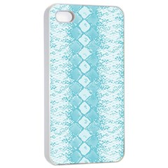 Snake Skin Blue Chevron Wave Apple iPhone 4/4s Seamless Case (White)