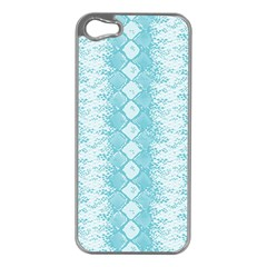 Snake Skin Blue Chevron Wave Apple iPhone 5 Case (Silver)